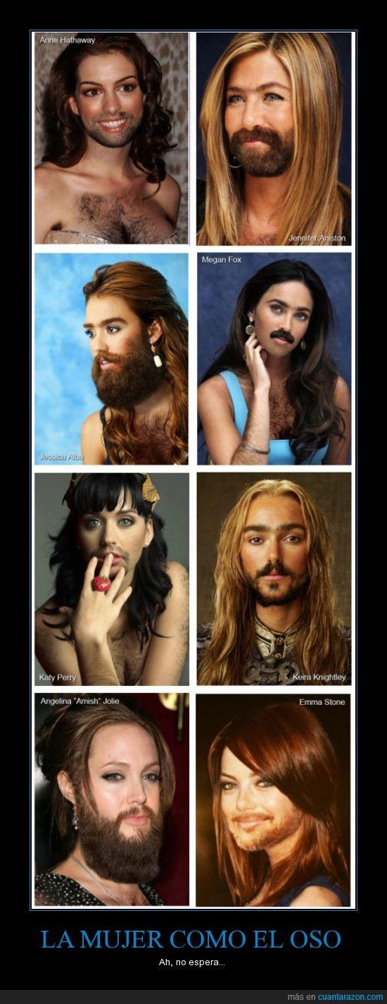 angelina,anne,barba,emma stone,jessica alba,katy,keira,megan fox,mujer,pelo,peluda