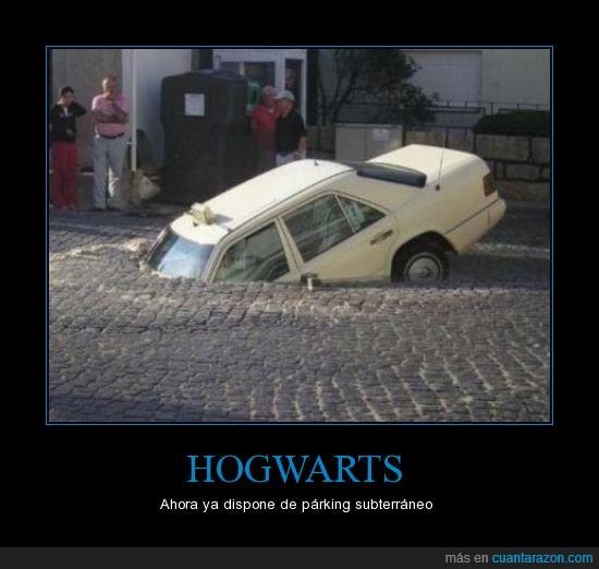 9 y 3/4,coche,hogwarts,no parece un ford anglia,parking
