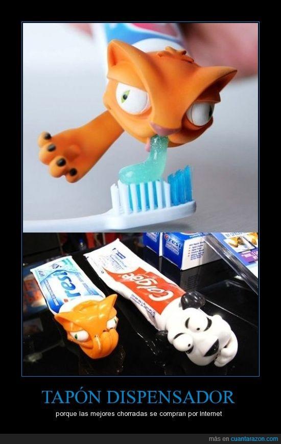 dentífrico,dientes,dispensador,gato,Internet,pasta,perro,tapón