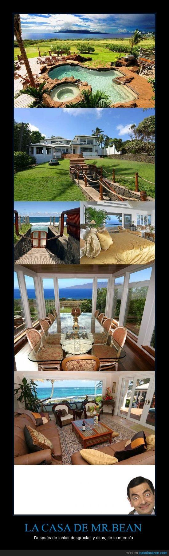 casa,mansión,millonario,mr bean,piscina,playa,Rowan Atkinson