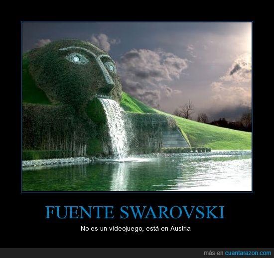 agua,austria,cabeza,fuente,lago,swarovski,videojuego