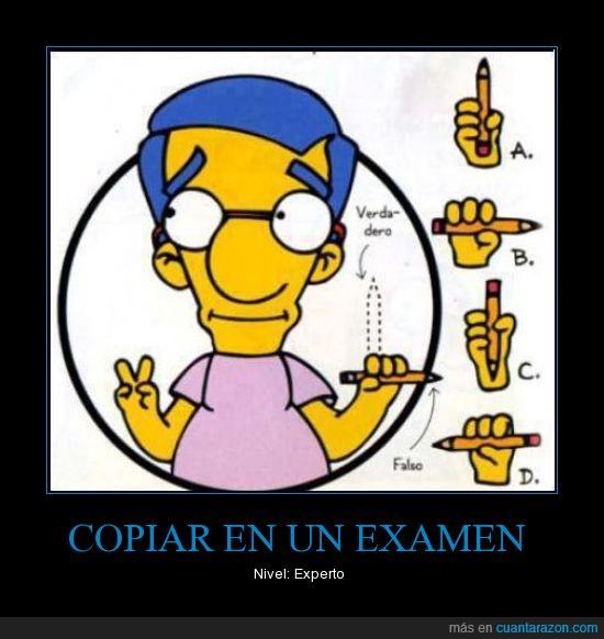 copiar,examen,experto,guia para la vida,lápiz,milhouse,nivel,simpson