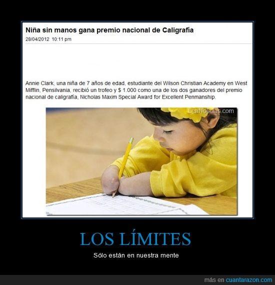 caligrafia,Limite,niña,sin manos,superación