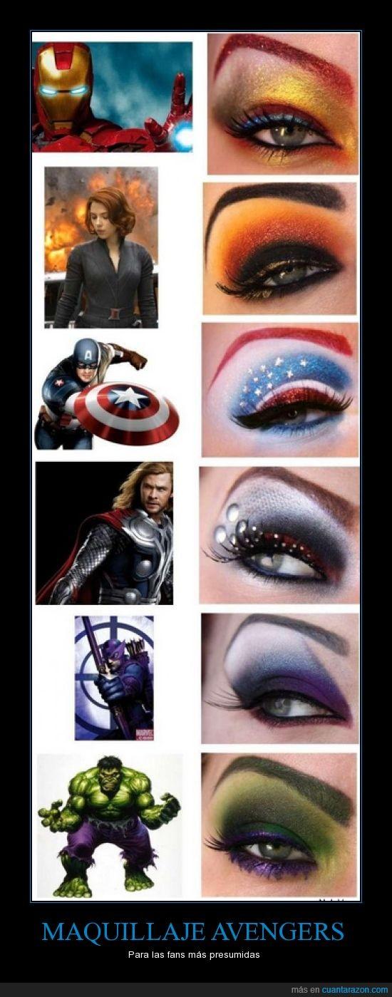 avengers,capitán américa,fans,hulk,iron man,maguillaje,ojos,presumidas,superhombres,thor