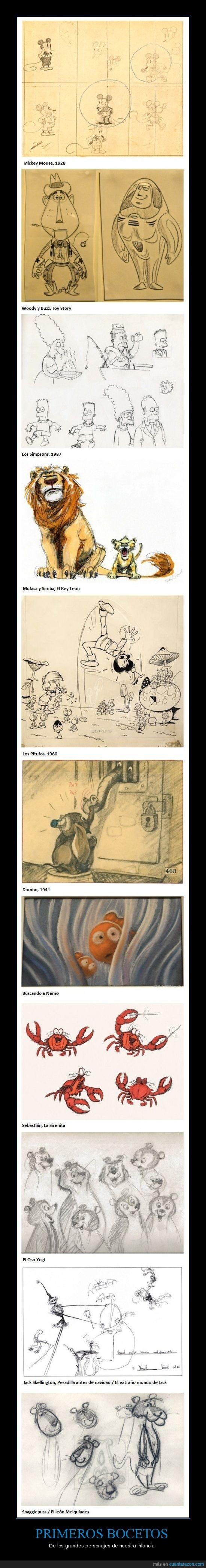 bocetos,dibujo,disney,famosos,grandes,infancia,personajes,pitufo,primeros,simpson,todos,toy story