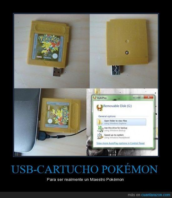 Cartucho,Game Boy Color,GBC,pendrive,Pokémon,Pokémon Oro,USB