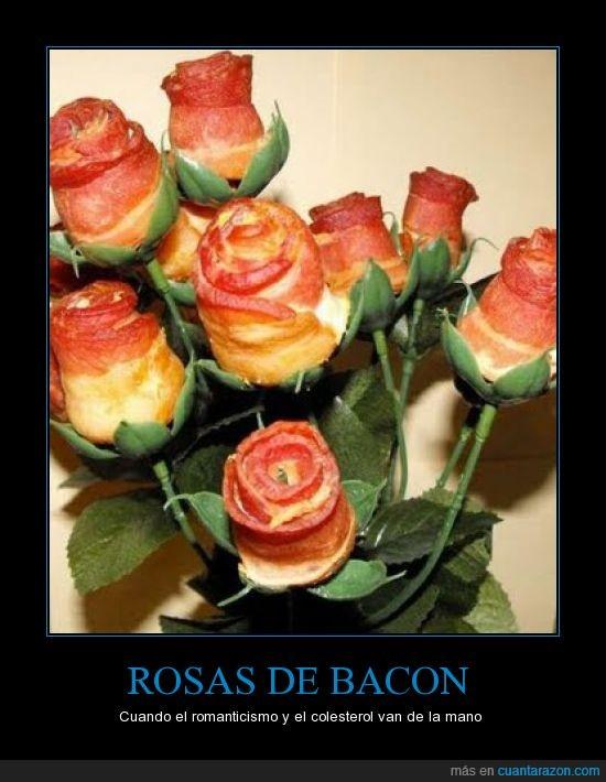 amor,ataque al corazón,bacon,cerdo,colesterol,infarto,romance,rosas