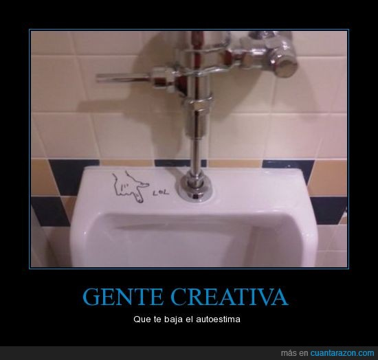 baño,dibujo,lol,mear,pequeña,pis,reir,señalar,trauma,urinario