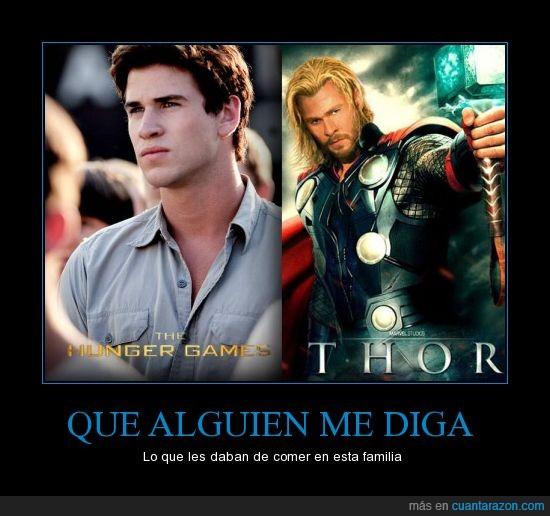 hermanos,Marvel,Tha hunger games,Thor