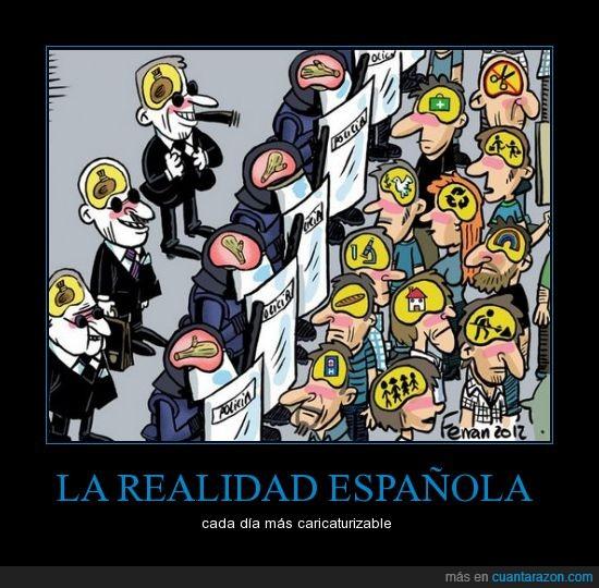 caricatura,dinero,españa,policia,politicos,pueblo,realidad