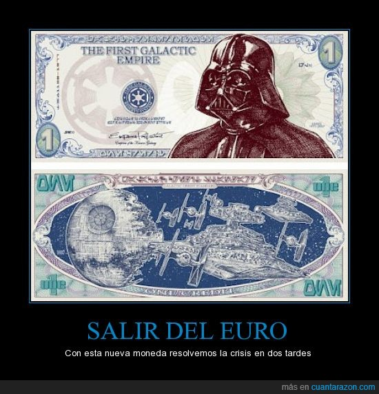 billete,darth vader,dinero,euro,mejor que la peseta,sith,star wars