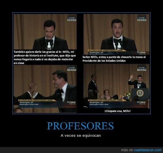 chocar,high five,instituto,jimmy kimmel,obama,presidente,profesor