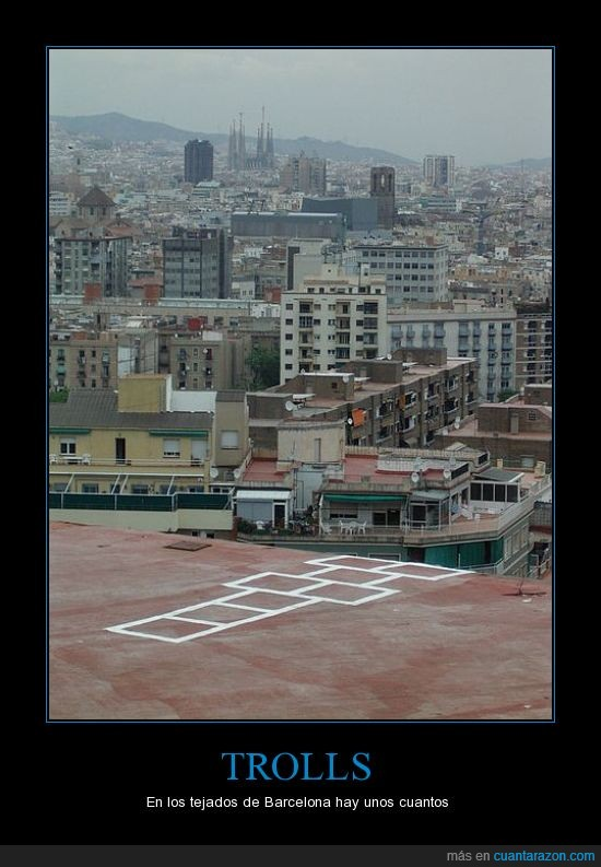 Barcelona,BCN,rayuela,tejado,Troll