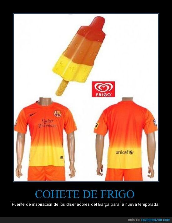 amarillo,barça,camiseta,cohete,frigo,naranja