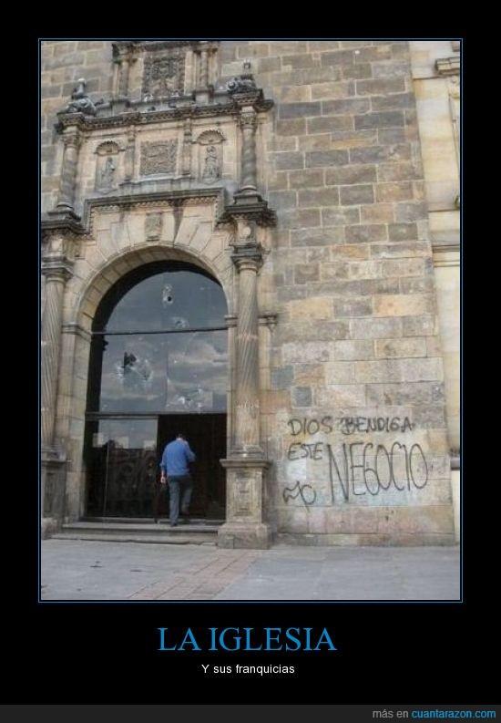 bendecir,dios,franquicias,grafitti,Iglesia,negocio,pared,religión