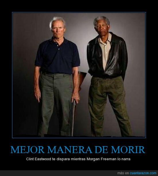 Clint,dispara,Eastwood,Freeman,lo,mientras,Morgan,narra,te