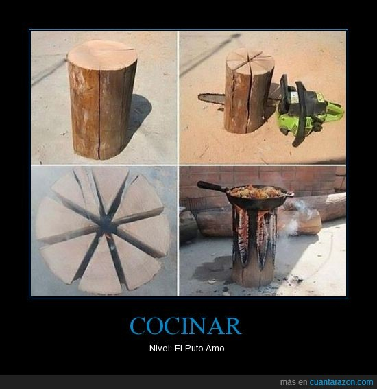 cocina,motosierra,original,sarten,tronco