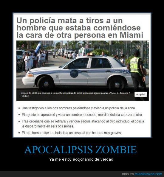 apocalipsis,cara,comer,hombre,matar,miami,policía,tiros,zombie