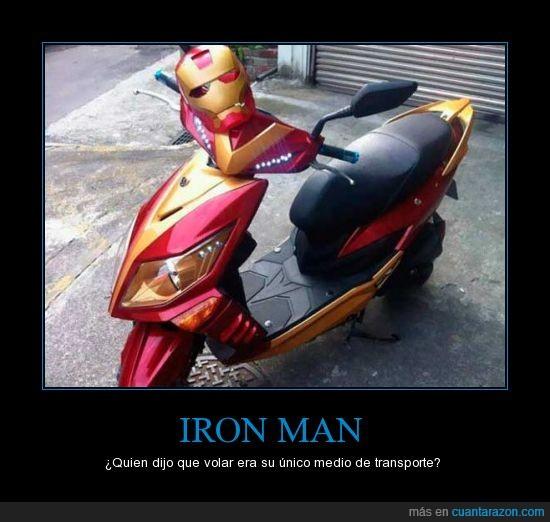 héroe,Iron,man,moto,roja,transporte,único,volar