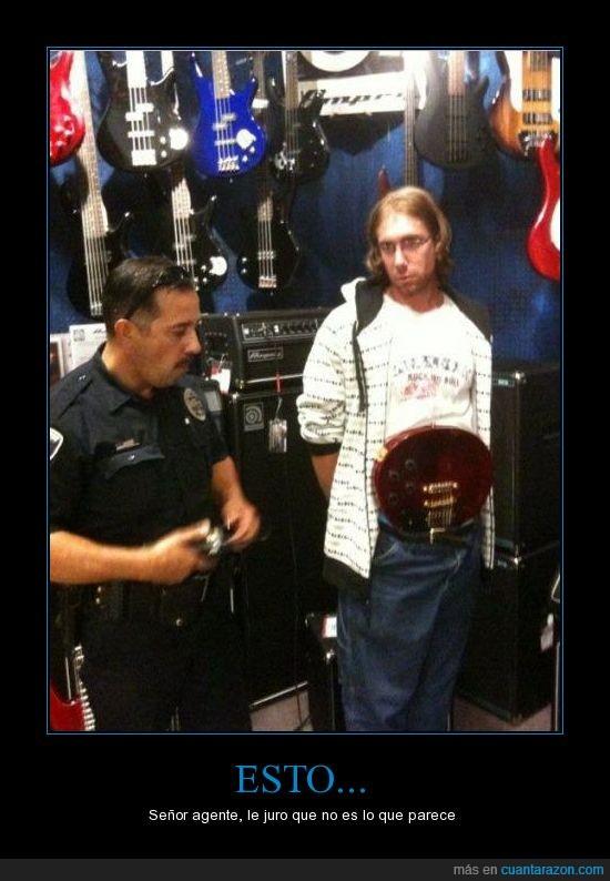 agente,cuatro,cuerdas,de,disimular,feo,Guitarra,instrumento,Policia,que crack,robar