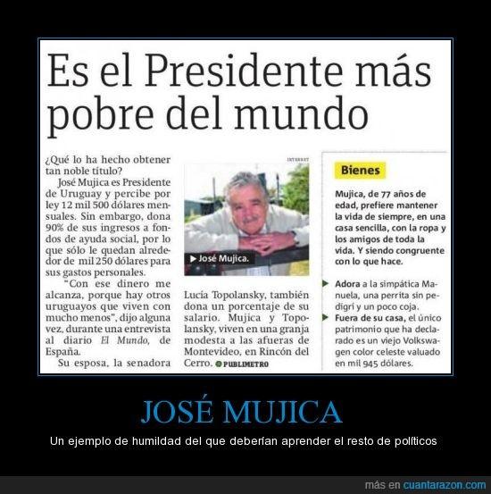 humildad,José Mujica,pobre,politicos,presidente