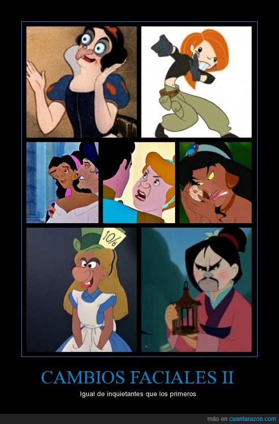 aladdin,alicia,cambios faciales,caras,disney,kim possible,mulan