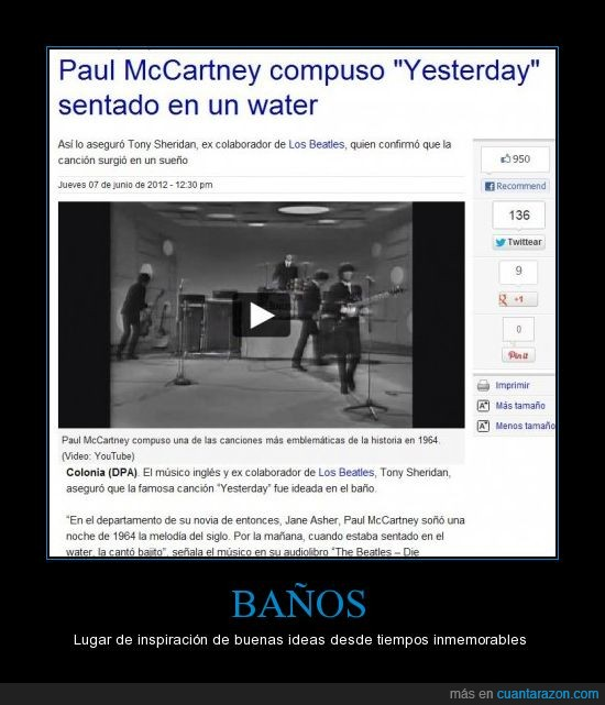 baño,cancion,el comercio,leyenda,paul mccartney,the beatles,water,yesterday