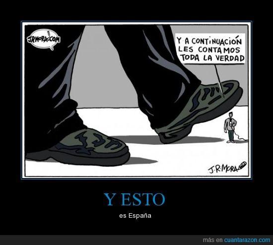 censura,comunicación,España,hombre,libre,medios,pisar,verdad,zapato
