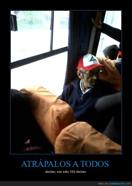 ash,bus,entrenador,gorra,hombre,pokemon,señor,viejo