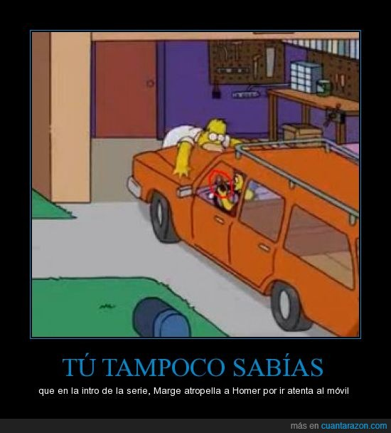 atropella,coche,homer,marge,movil,simpson