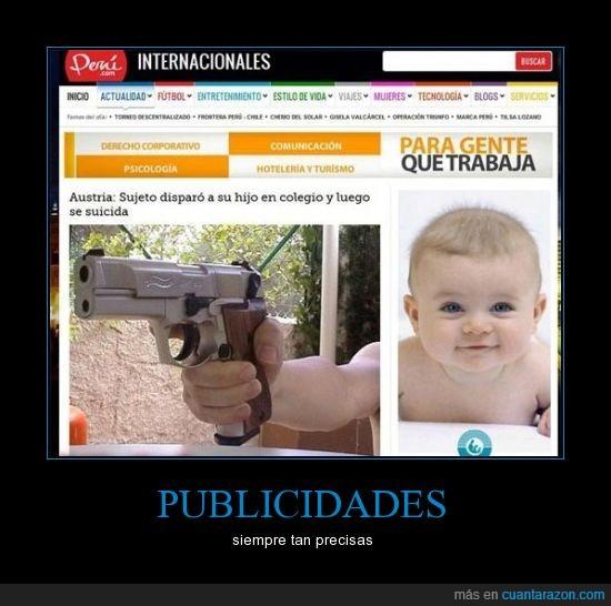 anuncio,arma,bebe,brazo,niño,pistola,publicidad
