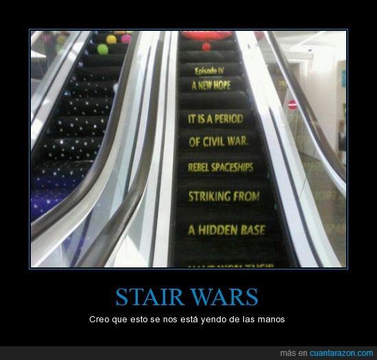 escalera,frikis,juego de palabras,stair,Star Wars