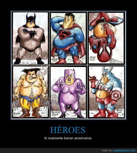 america,batman,capitan,catwoman,gordos,heroes,lobezno,obeso,spiderman,superman