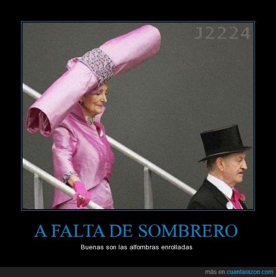 alfombra,hombre,mujer,ridicula,sombrero