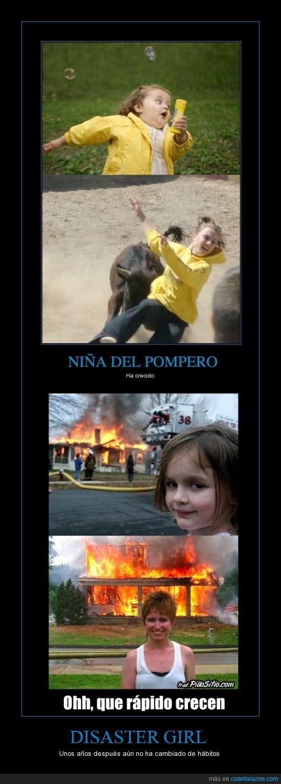 cornada,crecimiento,disaster girl,fuego,galletas,incendio,niña del pompero,toro