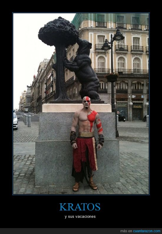 estatua,kratos,madrid,oso,vacaciones