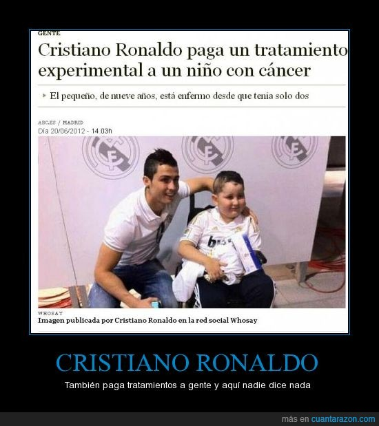 cáncer,cristiano ronaldo,niño,nueve años,paga,tratamiento