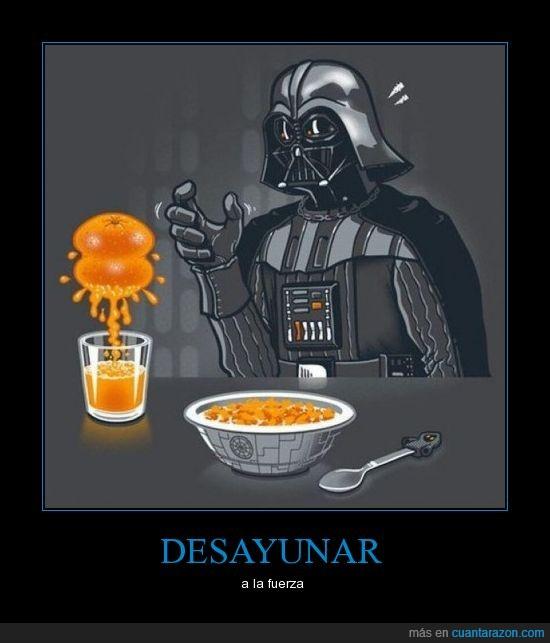darth vader,desayuno,friki,fuerza,lado oscuro,naranja,star wars,zumo