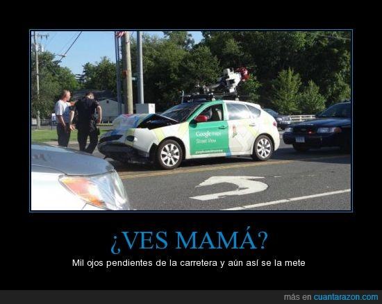 accidente,camaras,coche,google maps,street views