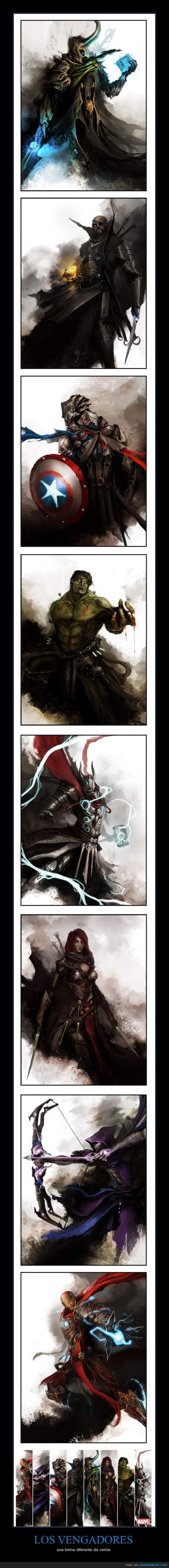 acuarela,capitan america,hulk,iron man,loki,los vengadores,medieval,nick fury,thor,viuda negra