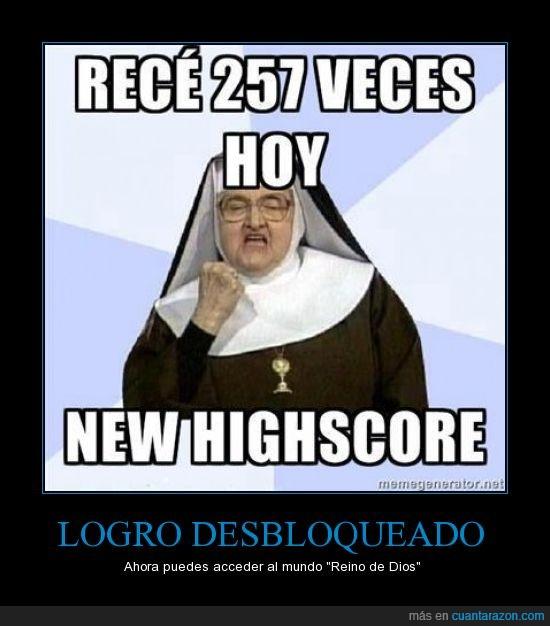 biblia,highscore,logro desbloqueado,monja,reino de dios,rezar