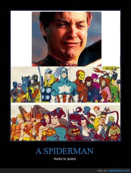 forever alone,liga justicia,llorar,spiderman,tobey mcguire,vengadores