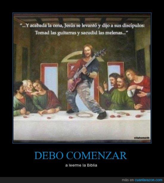 biblia,cuadro,evangelio según Iron Maiden,guitarra,huevos de jirafa,jesus,rock,ultima cena