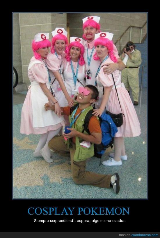brock,cosplay,disfraz,elefantes en vinagre,enfermera joy,engaño,pokemon