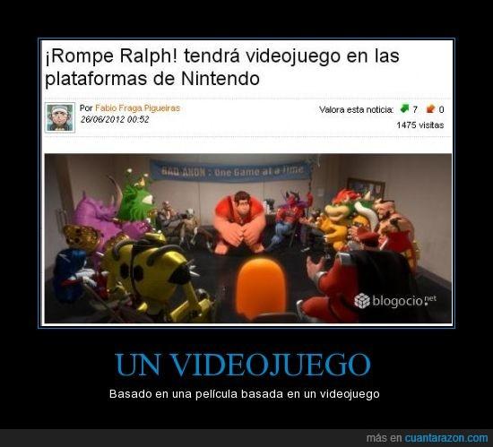 INCEPCION,Nintendo,pelicula,Rompe Ralph,videojuegos
