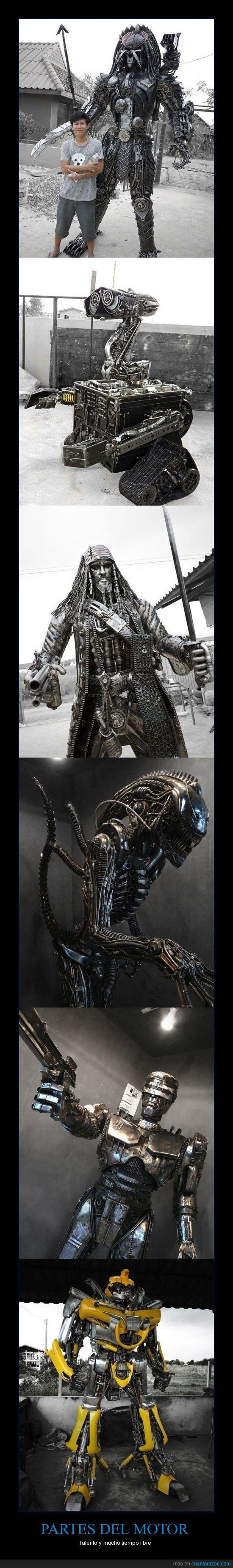 alien,jack sparrow,libre,Motor,personajes,predator,robocop,tiempo,transformer,wall-e