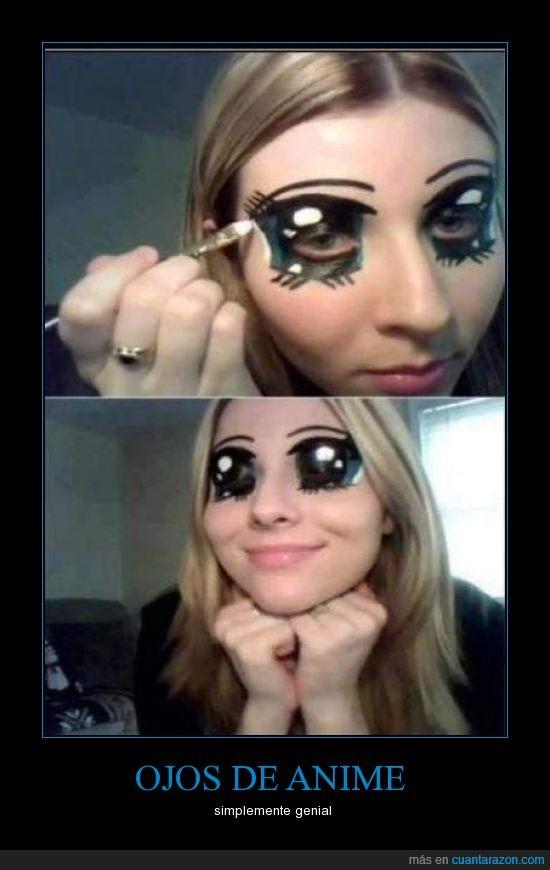 anime,brillo,chica,genial,maquillaje,ojos,pinta
