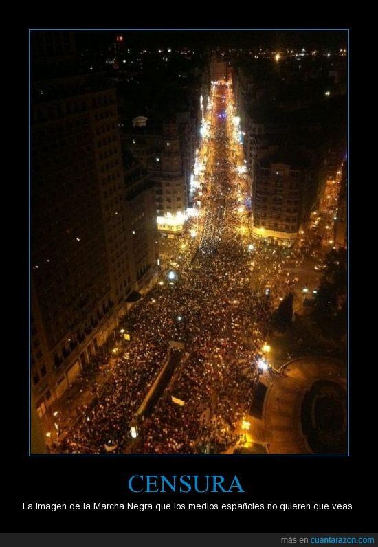 #marchanegra,#nocheminera,Censura,españa,marcha,medios,mineros,negra