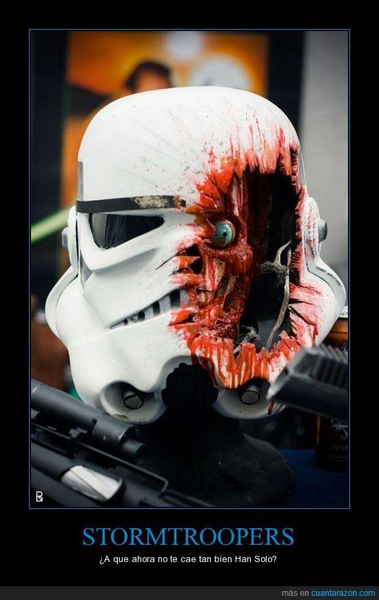 agujero,casco,dentro,destrozado,laser,muerto,pistola,rayo,sangre,stormtrooper