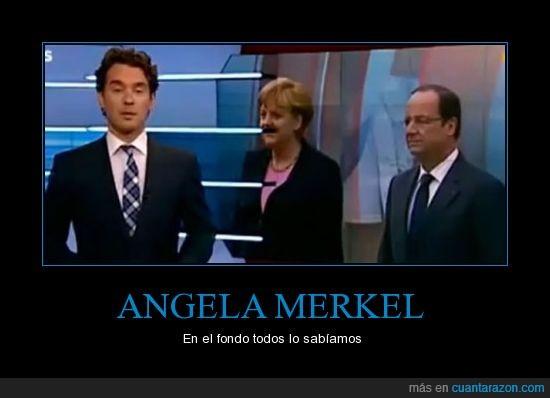 angela merkel,bigote,es una invade paises,hitler,tele